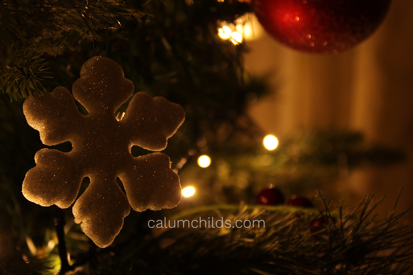 A snowflake shaped Christmas decoration hangs on the Christmas tree.