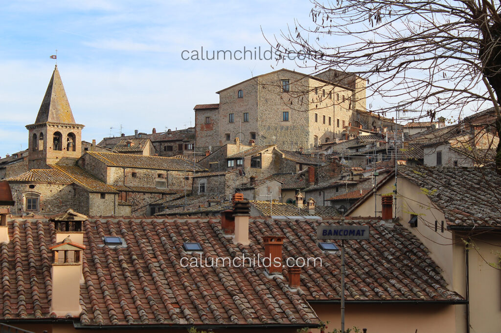 A view of the many buildings that are in the town centre at Anghiari.